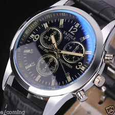 Mode Herren Militär Datum Leder Edelstahl Sport Quarz Armbanduhr Uhr