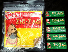 ZIG ZAG LARGE Bag - 450 SLIM Filter Tips & 5 Booklet of ZIG ZAG GREEN Papers