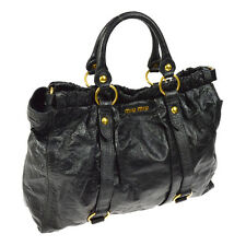 100% Authentic MIU MIU Logos Hand Bag Black Patent Leather Italy Vintage A31633