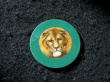 Green Antique Lion Poker Chip SUPER RARE Clay Vintage Rare Old Gambling Game