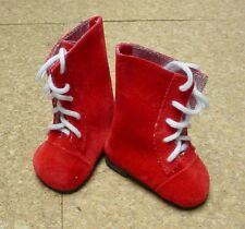"Doll Shoes, 65mm RED SUEDE Lace up Boots for 16"" Sasha"