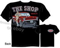 1957 Chevy Gasser T-shirt PinUp Girl Shirts Drag Race 57 Tee, Sz M L XL 2XL 3XL