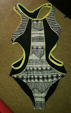 lovely black and white aztec neon yellow cut out swimming costume river island
