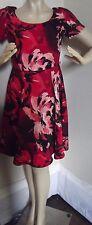 EVA MENDES 6 RED BLACK CORAL A-LINE SHEATH DRESS floral NO BELT New York & Co. S