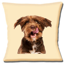 "NEW BROWN & WHITE LONG HAIR TERRIER CLOSE PHOTO PRINT 16"" Pillow Cushion Cover"