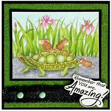 Turtle Ride HOUSE MOUSE Wood Mounted Rubber Stamp STAMPENDOUS, NEW - HMR63
