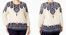 Alfred Dunner shirt size 1X  Beige w/ Maroon and Blue Paisley Print