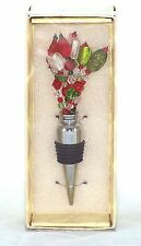 Beaded Wire Spray Metal Bottle Stopper Red Green Clear NEW wine holiday topper