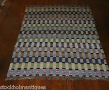 Exquisite Square Design Antique and Handmade Swedish Rag Rug ( 41x75 inches)