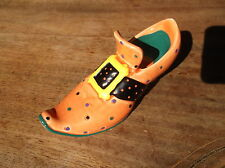 COLLECTABLE RUSS BERRIE MINI SHOE BOLD HANDPAINTED ORANGE BLACK SLIPPER