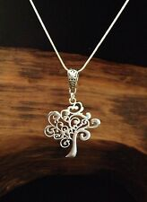 "Sterling Silver Tree of Life Pendant Necklace 18"" Chain Jewelry"