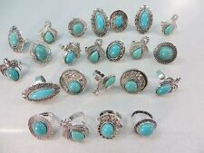 *US Seller*20 rings antique vintage style turquoise stone wholesale fashion