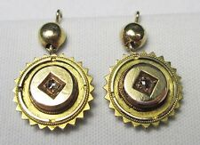 ANTIQUE VICTORIAN 9CT 9KT YELLOW GOLD & OLD CUT DIAMOND ETRUSCAN DROP EARRINGS