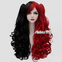 Lolita Red Mixed Black Long 75CM Curly Fashion Women Cosplay Wig + 2 Ponytails