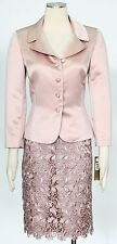 Tahari Dusty Rose Skirt Suit Size 4 Polyester Embroidered Lace Skirt Women's*