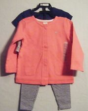 NWOT CARTER'S GIRLS 3 PC SETS 1 SS SHIRT 1 JACKET LEGGINGS W/SKIRT 3 T