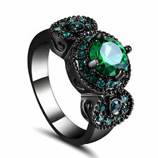 Size 7 Vintage Round Cut Green Emerald Wedding Ring 10KT Black Gold Filled gift