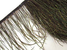 F134 PER 30cm Gold Green Bronze Ostrich Feather fringe Trim Fascinator Material