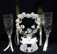 CLASSIC Mickey & Minnie Mouse Wedding Cake Topper LOT Glasses Knife set, Garter