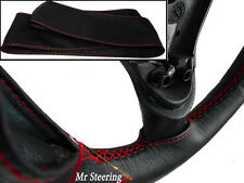 FOR PEUGEOT 308 REAL BLACK ITALIAN LEATHER STEERING WHEEL COVER RED STITCH