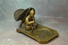 RARE Brass bronze Vintage Ashtray Cigarette Match Holder Asian Old Man korea