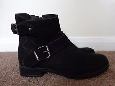 NEW NEXT 100% NUBUCK LEATHER BLACK BIKER BOOTS SIZE 4 RRP £60
