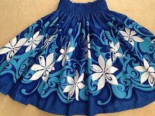"NEW OCEAN BLUE TIARE HAWAIIAN PAU PA'U HULA DANCE SKIRT 30"" LONG"