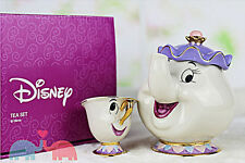 NEW Disney Beauty and The Beast Mrs. Potts Chip Tea Pot & Cup set Teapot Mug