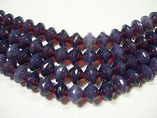 28 7mm Czech Glass Purple Opal Saturn Saucer Beads