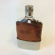 Vintage pigskin leather and chrome  hip flask