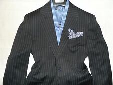 TRUSSINI Mens Black Chalk Striped Two Button 100% Wool Suit-40R 34Wx32