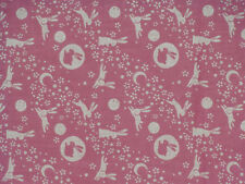 Tenugui Japanese Fabric Cotton Gauze 'Pink Rabbits in the Moon' Motif