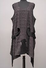 PRISA DESIGNS LAGENLOOK ASYM SLEEVELESS TUNIC TANK TOP VESTOVER BLACK Sz 1 $308