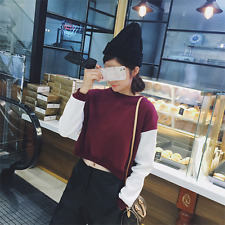 Spring Korean Fashion Women Girl Casual Long Sleeve Splice Crop Top Shirt Blouse