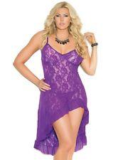 Women Plus Long Nightgown 2X Purple Gown Stretch Floral Lace Panty Lingerie Set