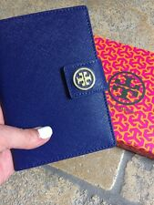 RARE! Tory Burch Navy York Robinson Saffiano Leather Passport Holder Wallet NEW