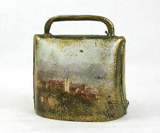 Antique Vintage Swiss Cow Bell Village Mountain Alpine Scene