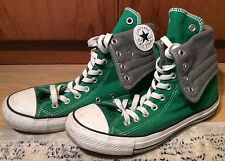 Unisex Converse All Star Chuck Taylor Green Grey Roll Hi Top Boots Shoes Size 7