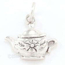 CUTE! Little TEAPOT w FLOWER Charm or Pendant Solid 925 Sterling Silver Tea Pot