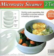 HEALTHY LIFE STYLE MICROWAVE 2 TIER VEGETABLE FISH SHELLFISH EASY COOK STEAMER