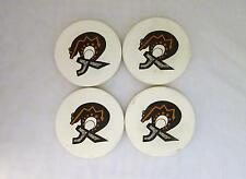Set of 4 Round Porcelain w/ Felt Back Collectible CIRCUS BEAR Coasters or Trivet
