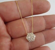 14K YELLOW GOLD NECKLACE PENDANT W/ 1 CT LAB DIAMONDS /CHAIN 18'' LONG/STUNNING