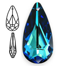 ONE SWAROVSKI CRYSTAL GLASS TEARDROP PENDANT 6100, BERMUDA BLUE, 24  MM