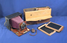 Antique Rochester Camera Co. Cycle Poco No. 2 Folding Plate Camera +Leather Case