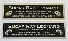 Sugar Ray Leonard nameplate for signed boxing gloves trunks photo or case