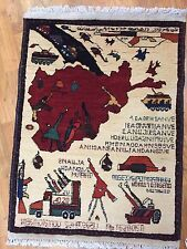 Hand Woven Afghan War Rug Kazakh Wool Size 2'x3' Helicopter Machine Guns Weapons