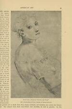"ANTIQUE BEAUTIFUL WOMAN BIG EYES STUDY FOR "" SOWING THE WORD "" HUNTINGTON PRINT"