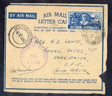 South Africa, 1942, air-mail letter party from Egypt to Harrismith with censorsh