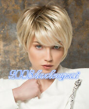 2015 new sexy Fashion ladies short Blonde mixed Natural Hair full wigs + Wig cap