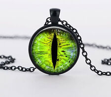 New Green eyes Charm Glass Dome Cabochon Black Chain Necklace Pendant